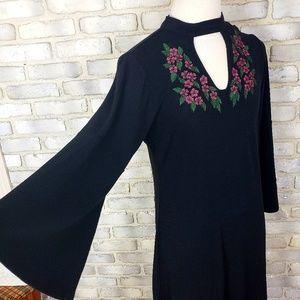 AVENUE Shift Dress Plus Sze 14 16 Black Knitted Fl